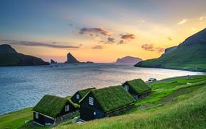 Picture landscape, mountains, nature, rocks, village, home, Bay, Faroe Islands, Bøur