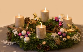 Picture balls, holiday, candles, Christmas, New year, needles, wreath, bumps, Christmas decorations, новогодние декорации