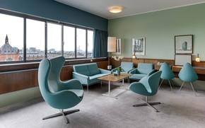 Picture interior, Denmark, the hotel, retro style, hall, Copenhagen, Radisson Blu Royal hotel
