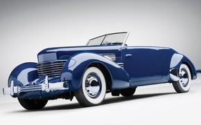 Picture Blue, Cabriolet, Retro, Cord 812