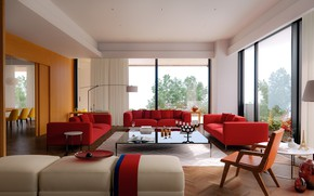 Picture room, furniture, interior, living room, dining room