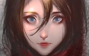 Wallpaper face, brunette, blue eyes, art, bangs, portrait of a girl, Kaine, Date-palm