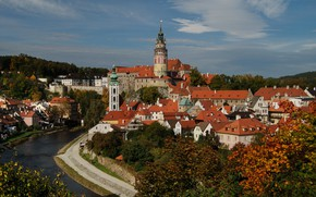 Picture river, tower, home, Czech Republic, panorama, Cesky Krumlov