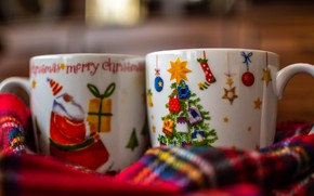 Picture figure, Christmas, pair, Cup, New year, plaid, Christmas
