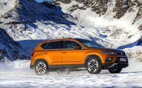 Picture snow, mountain, slope, SUV, Seat, 2017, 4Drive, Ateca