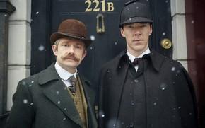 Picture snow, hat, hat, two, friends, Sherlock Holmes, Martin Freeman, Benedict Cumberbatch, Benedict Cumberbatch, Sherlock, Sherlock …