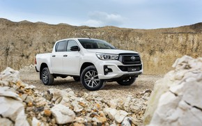 Picture white, the sky, stones, Toyota, pickup, Hilux, Special Edition, 2019