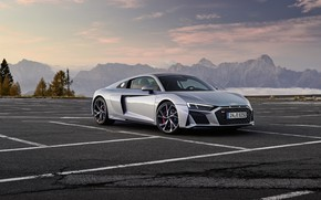 Picture sunset, mountains, Audi, the evening, Parking, supercar, Audi R8, Coupe, V10, 2020, RWD