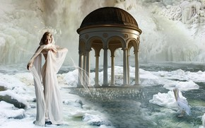 Picture girl, fantasy, photoart, Pelican