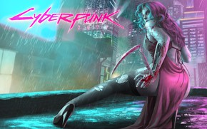 Picture Girl, The city, The game, Rain, Art, Cyborg, CD Projekt RED, Cyberpunk 2077, Cyberpunk, Cyberpunk, ...