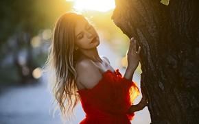 Picture girl, light, tree, dress, trunk, shoulders, bokeh, Rus, Larisa Korsikova, Korsikova Larisa