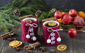 Picture snow, decoration, apples, New Year, Christmas, Christmas, snow, cup, New Year, tea, cookies, apples, decoration, …
