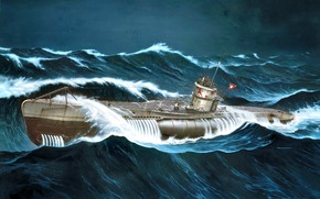 Picture wave, Storm, WWII, German submarine, U-552, U-boot type VIIC, Erich Topp