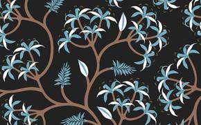 Picture background, black, Flower, Blue, Black, Vintage, Background, Leaves, Pattern