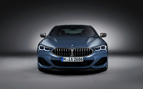 Picture background, coupe, BMW, front view, Coupe, 2018, gray-blue, 8-Series, pale blue, M850i xDrive, Eight, G15