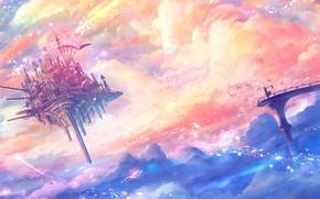 Picture girl, fantasy, sky, bridge, clouds, birds, Castle, digital art, artwork, fantasy art, floating castle