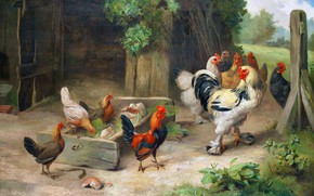 Picture Birds, Picture, Cocks, Chickens, Edgar Hunt, Edgar Hunt, Сцена на ферме с цыплятами и петухами, …