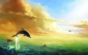 Picture The sun, Clouds, Sea, Seagulls, Dolphins