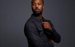 Wallpaper background, actor, male, Michael B. Jordan, blue shirt