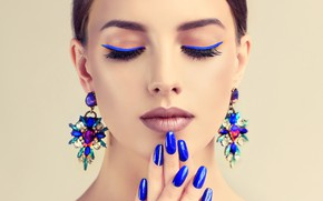 Picture decoration, blue, face, background, portrait, earrings, hands, makeup, hairstyle, brown hair, beauty, lacquer, bokeh, manicure