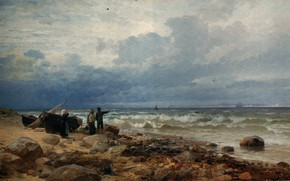 Picture wave, shore, boats, ANDERSEN, LUNDBY