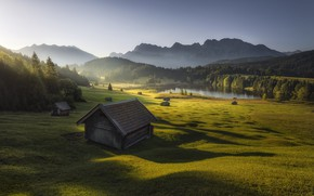 Picture mountains, morning, houses, Bavarian Alps