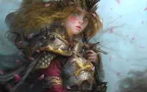 Picture girl, armor, curly
