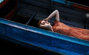 Picture freckles, sponge, redhead, the girl on the boat, Juliana Naidenova
