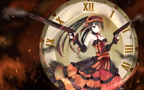 Picture girl, weapons, watch, Date A Live, Date a live