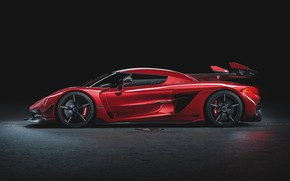 Picture Koenigsegg, supercar, side view, hypercar, 2019, Jesko, 1600 HP, Cherry Red Edition
