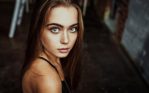 Picture look, close-up, model, portrait, makeup, hairstyle, brown hair, bokeh, Krzysztof Budych