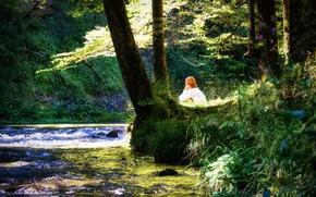 Picture forest, summer, girl, landscape, nature, river