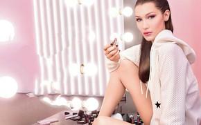 Picture look, girl, pose, model, lipstick, light bulb, cosmetics, Bella Hadid
