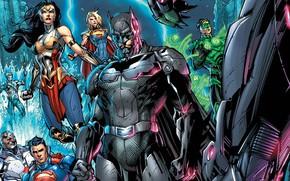 Picture fantasy, Wonder Woman, Batman, comics, Green Lantern, Superman, artwork, superheroes, fantasy art, Supergirl, Injustice, Aquaman, …