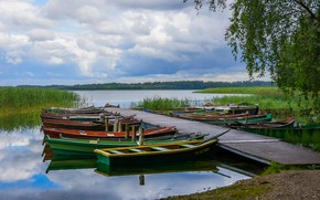 Picture summer, the sky, grass, clouds, branches, lake, shore, foliage, boat, Marina, dal, boats, pierce, birch, …