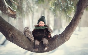 Picture winter, joy, birds, tree, owl, laughter, girl, baby, chick, child, owlet, Marianne Smolin