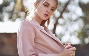 Picture look, the sun, pose, glare, model, portrait, makeup, hairstyle, brown hair, jacket, in pink, bokeh, …
