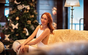 Picture look, pose, smile, room, model, new year, portrait, makeup, figure, dress, hairstyle, tree, sitting, redhead, …
