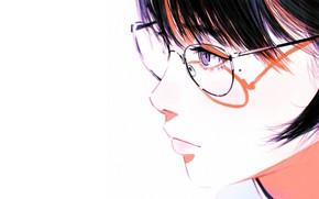 Picture face, shadow, glasses, white background, profile, mole, bangs, portrait of a girl, Ilya Kuvshinov