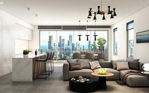 Picture design, interior, kitchen, megapolis, living room, dining room