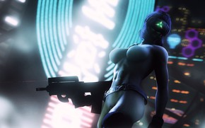 Picture Girl, Figure, The city, Girl, Weapons, Japan, Ghost, Art, Boobs, Ghost in the shell, Female, ...