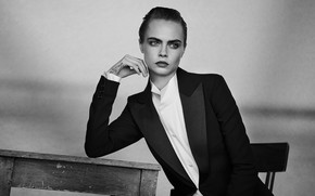 Picture pose, model, actress, black and white, black and white, Cara Delevingne, Cara Delevingne