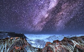 Picture snow, mountains, night