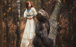 Picture autumn, forest, girl, pose, dress, bear, red, redhead, Anastasia Barmina