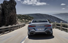 Picture the sky, mountains, rocks, coupe, BMW, Gran Coupe, ridge, 8-Series, 2019, the four-door coupe, Eight, …
