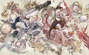 Picture girls, roses, art, touhou, Touhou