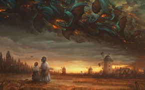 Picture Field, Dragon, Mill, Fire, People, Style, Clouds, Wheat, Clouds, Dragon, Fire, Dragons, Style, Fiction, Fiction, …