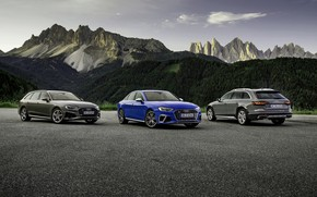 Picture mountains, Audi, sedan, S4, A4, 2019, station wagons, A4 Avant, A4 Allroad Quattro