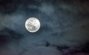 Picture the sky, clouds, night, nature, the moon, the full moon