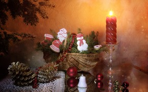 Picture balls, light, branches, table, wall, flame, holiday, balls, toy, toys, candle, cookies, Christmas, red, New …